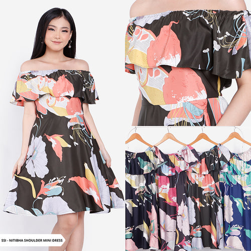 Nitibha Flowery Off Shoulder Regular Mini Dress Sale 35%