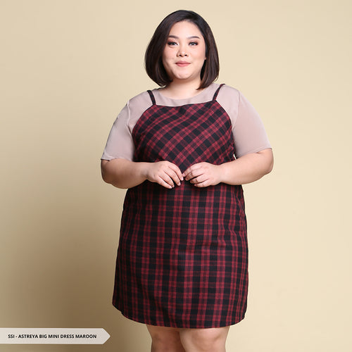 Astreya Plaid Simple Big Mini Dress