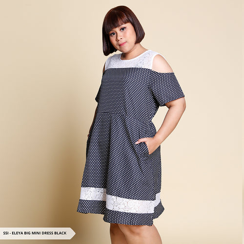 Eleya Polkadot Cold Shoulder Big Mini Dress SALE 55%