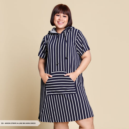 Moon Stripe A-Line Big Mini Dress