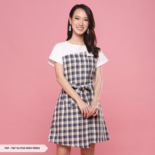 Y&F Olyssa Plaid Asymmetric Regular Mini Dress