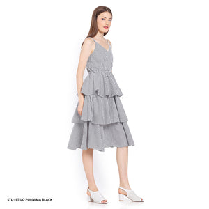Stilo Purnima Stripe Ruffle Regular Midi Dress SALE 40%