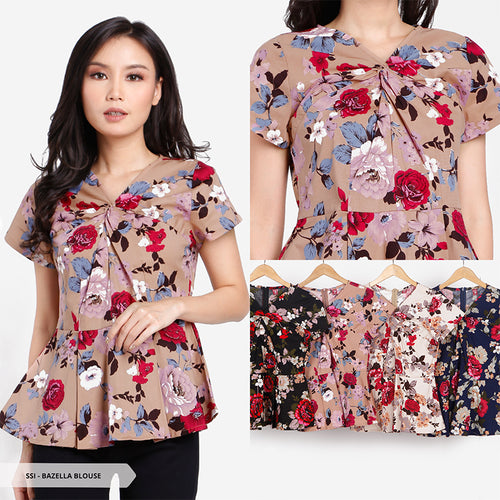Bazella Flowery Peplum Regular Blouse Sale 35%