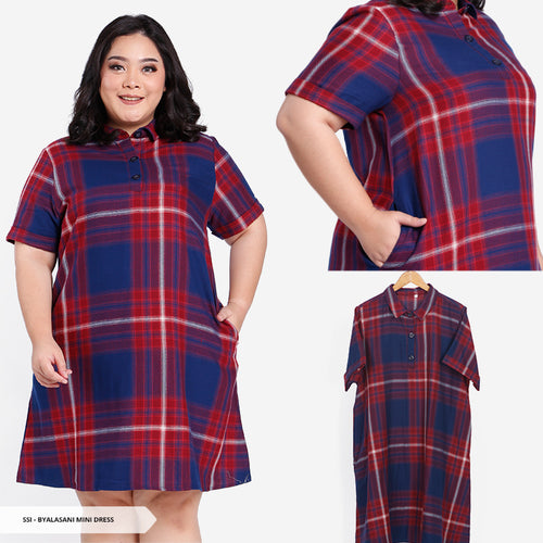 Byalasani Plaid A-Line Big Mini Dress