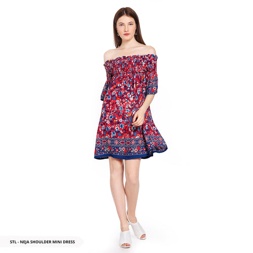 Stilo Neja Flowery Off Shoulder Regular Mini Dress SALE 40%