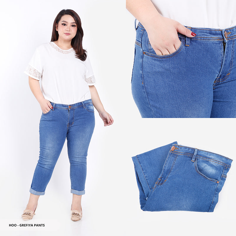 Grefiya Plain Cropped Big Pants
