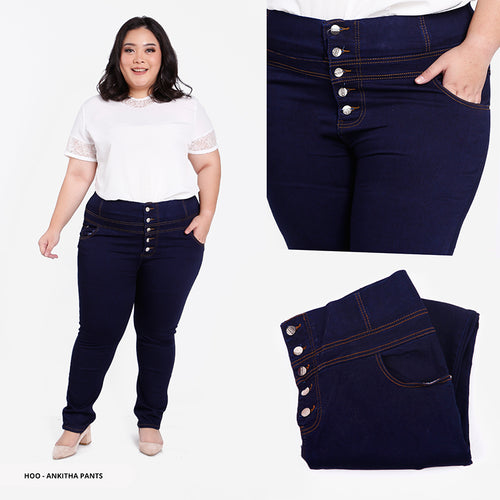 Ankitha Plain High Waist Big Long Pants