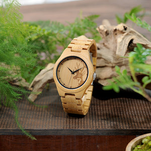 Elk Head Wood Watch