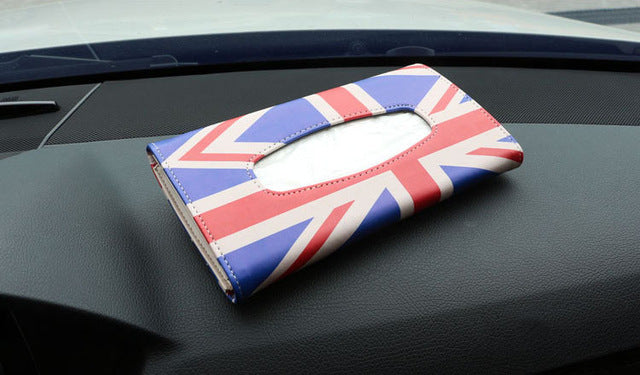 Union Jack Car Interior Sun Visor Tissue Box