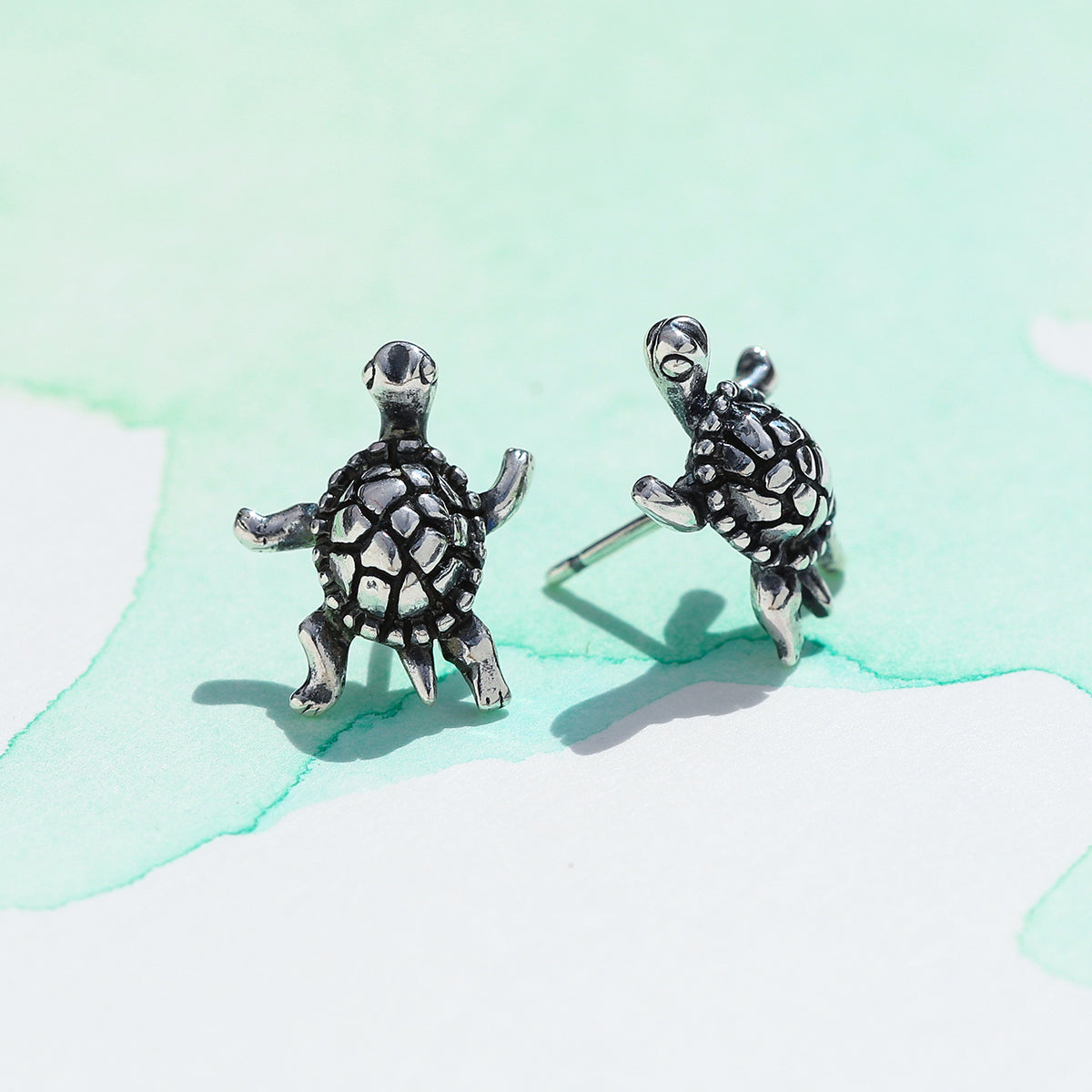earrings stud sterling silver turtle