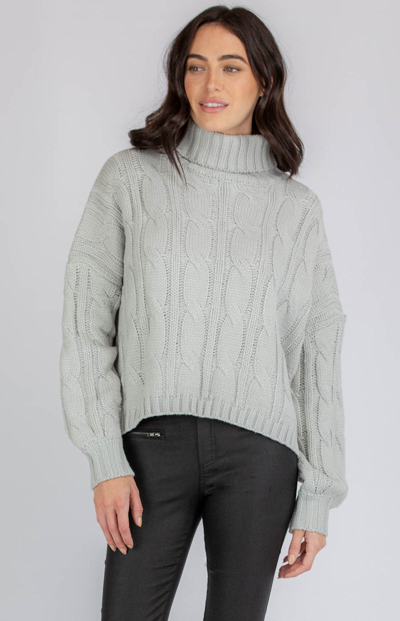 DONNA OVERSIZED TURTLENECK CABLE KNIT-GREY - Saphyra Boutique