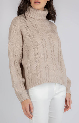 DONNA OVERSIZED TURTLENECK CABLE KNIT-GREY