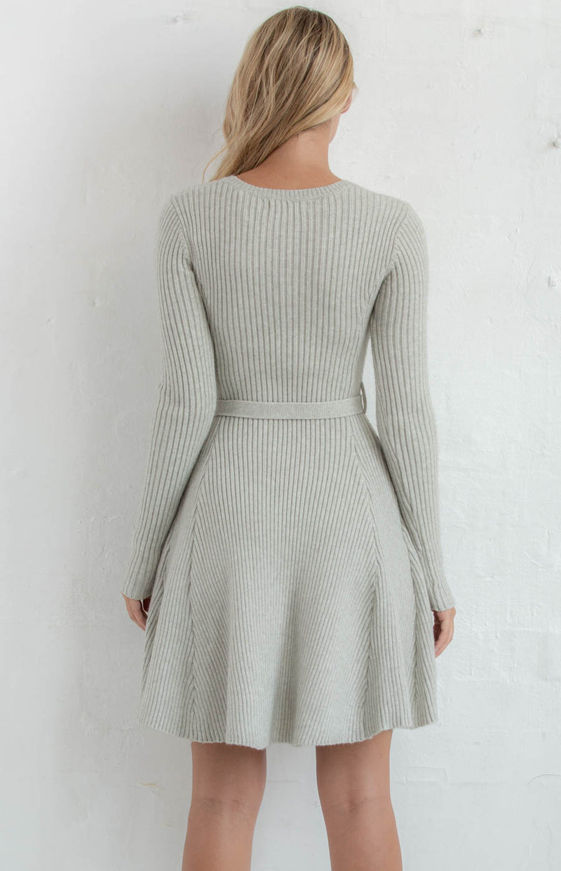 EMILY ROUND NECKLINE KNIT DRESS WITH BELT - Saphyra Boutique