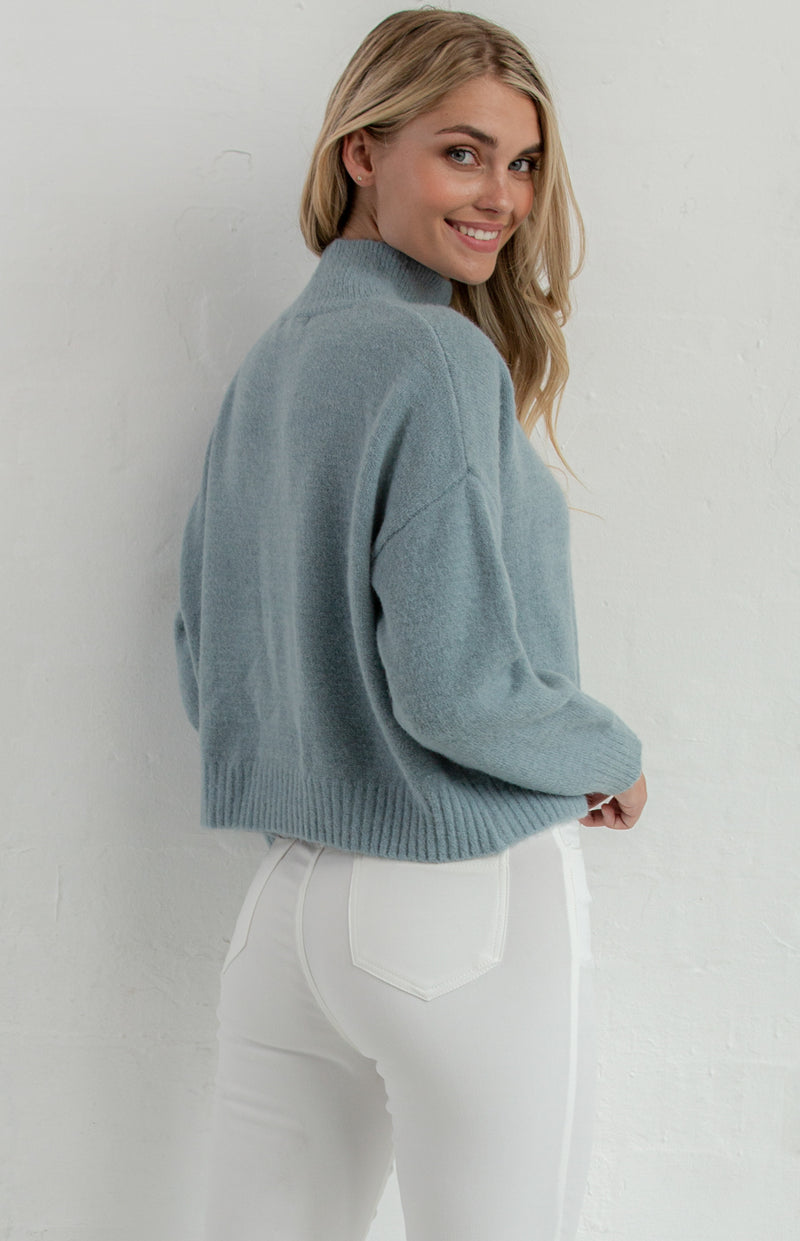 SASKI HIGH NECK CROPPED KNIT JUMPER - Saphyra Boutique