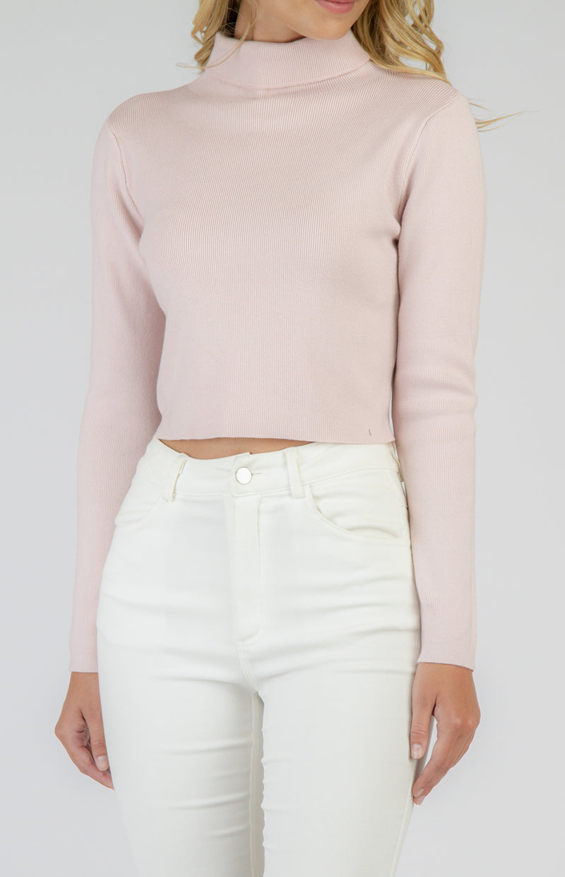JENNA TURTLENECK FITTED KNIT CROP