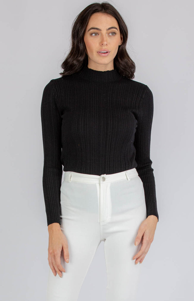 FAITH FITTED TEXTURED KNIT TOP - Saphyra Boutique