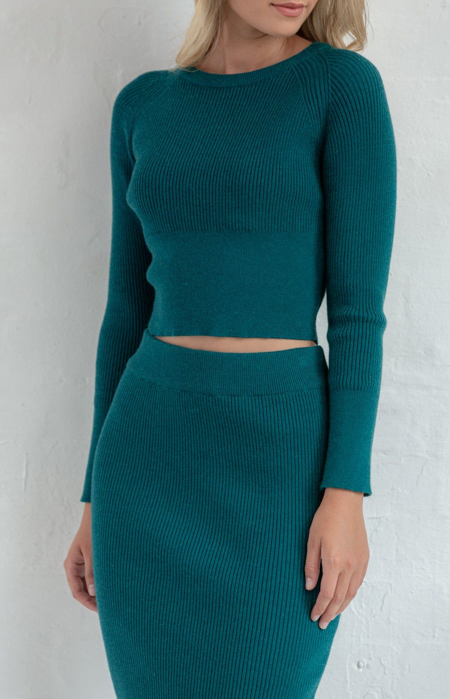 ANNE FITTED KNIT SET WITH CROP TOP & MIDI DRESS