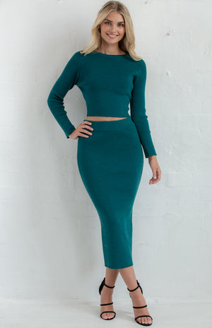 ANNE FITTED KNIT SET WITH CROP TOP & MIDI DRESS - Saphyra Boutique