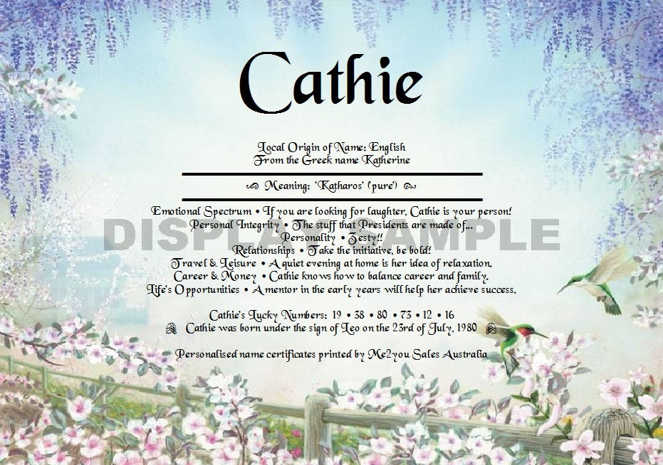 Hummingbirds background - First Name Meaning Certificate – Name ...