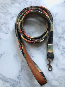 Pet Leash - Black Serape with Leather Handle