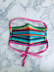Teal/Pink Serape Surgical Mask with nose clip, Adult Face Mask