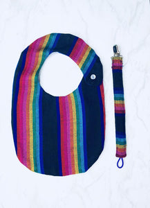 Black Stripe Bib & Pacifier Clip Set