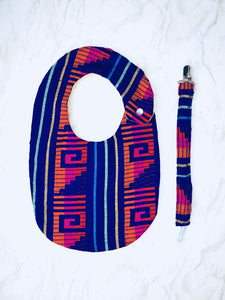 Purple Aztec Bib & Pacifier Clip Set