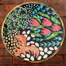 Hand painted wood pedestal plate