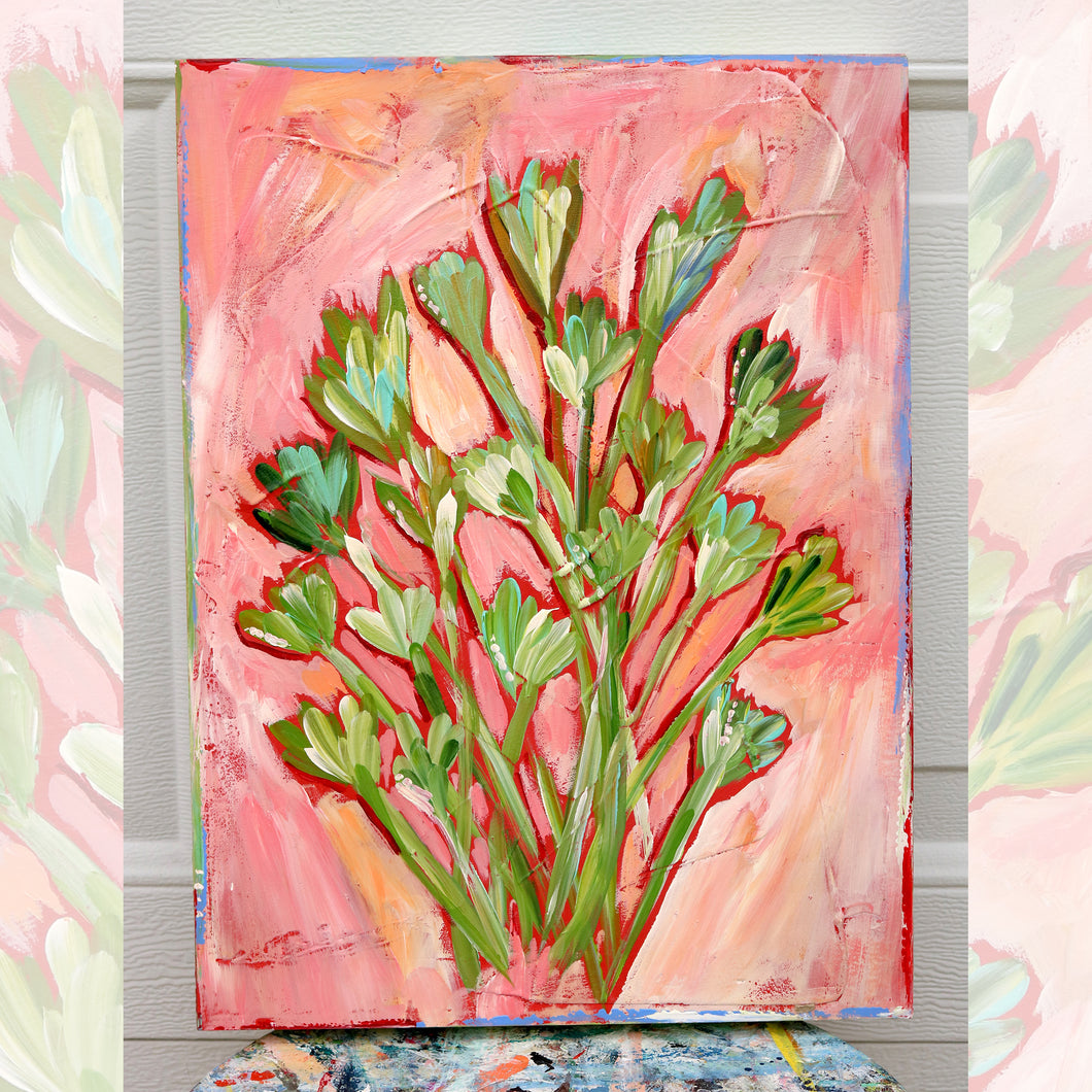 Bouquet -green and pink   12 x16