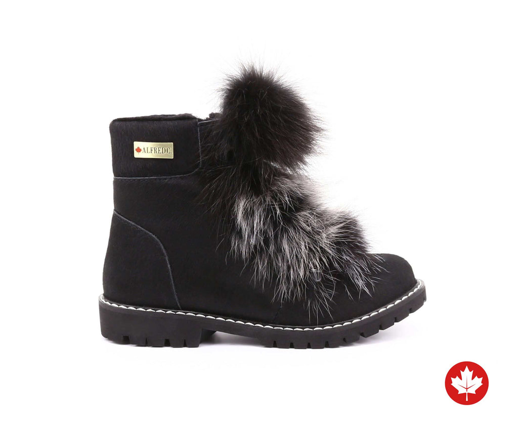 Bella Women's Winter Boot with Recycled Fur and Retractable Cleats