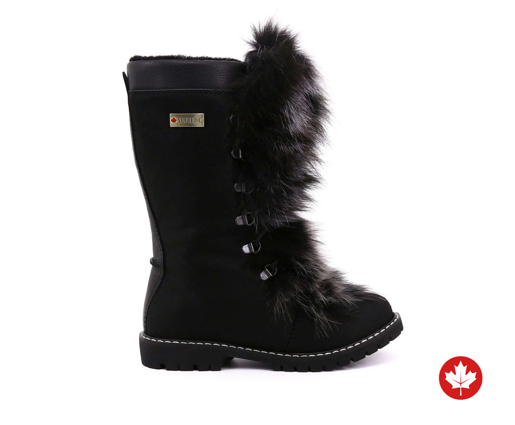 Bella Grande Women's Winter Boot with Recycled Fur and Retractable Cleats