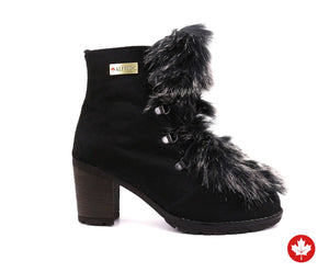 Charlotte Women's Winter Boot in Hairy Leather with Faux Fur