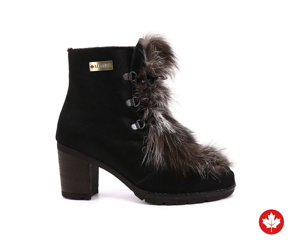 Charlotte Women's Winter Boot in Hairy Leather with Recycled Fur