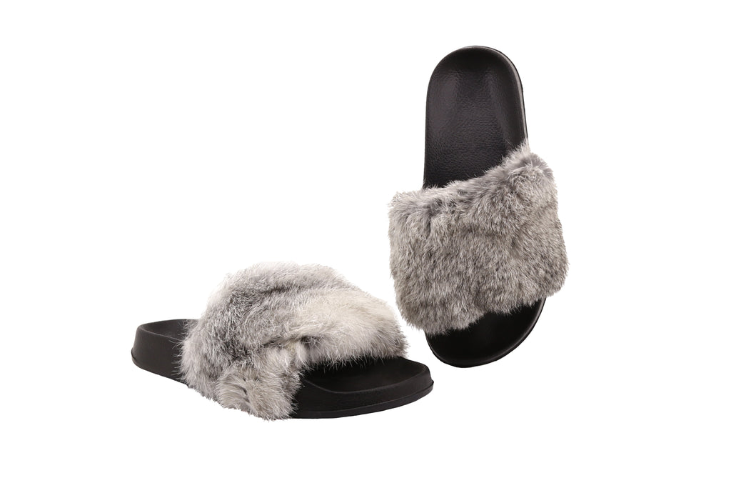 Erica Women's Sandals in Rabbit Fur with EVA Soles - Alfred Cloutier Ltd. - Canada