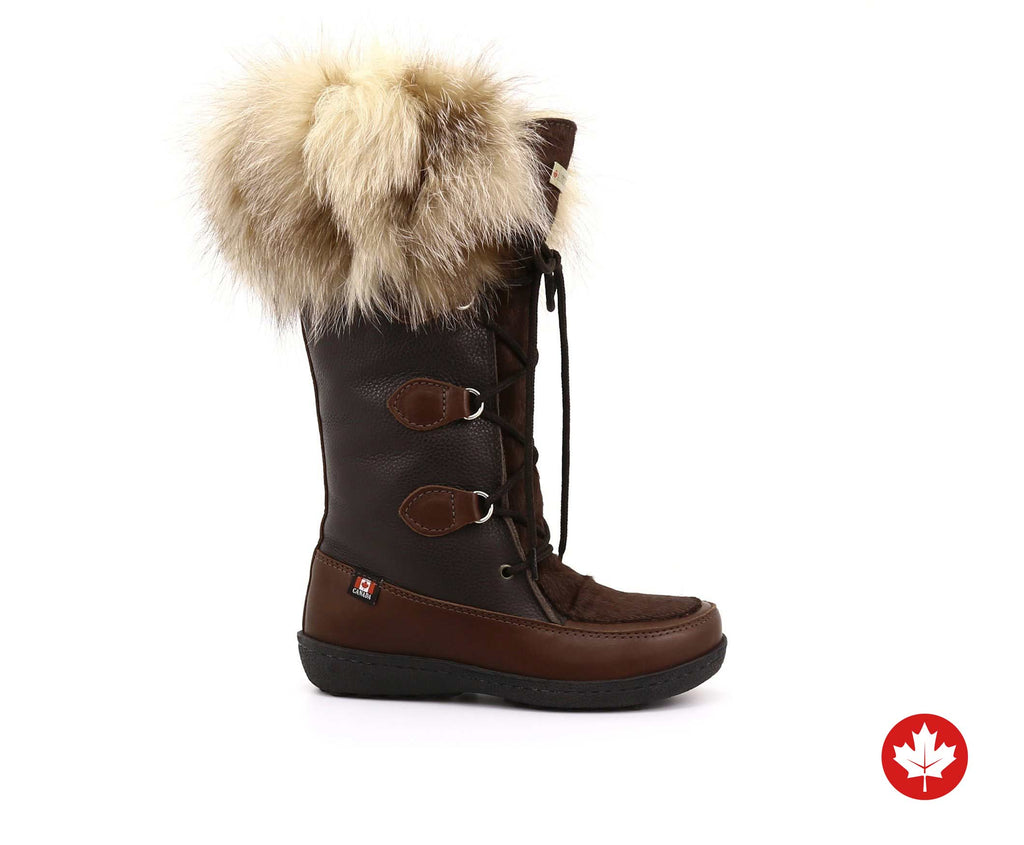 Luna Women's Winter Boot in Hairy Leather and Recycled Fur