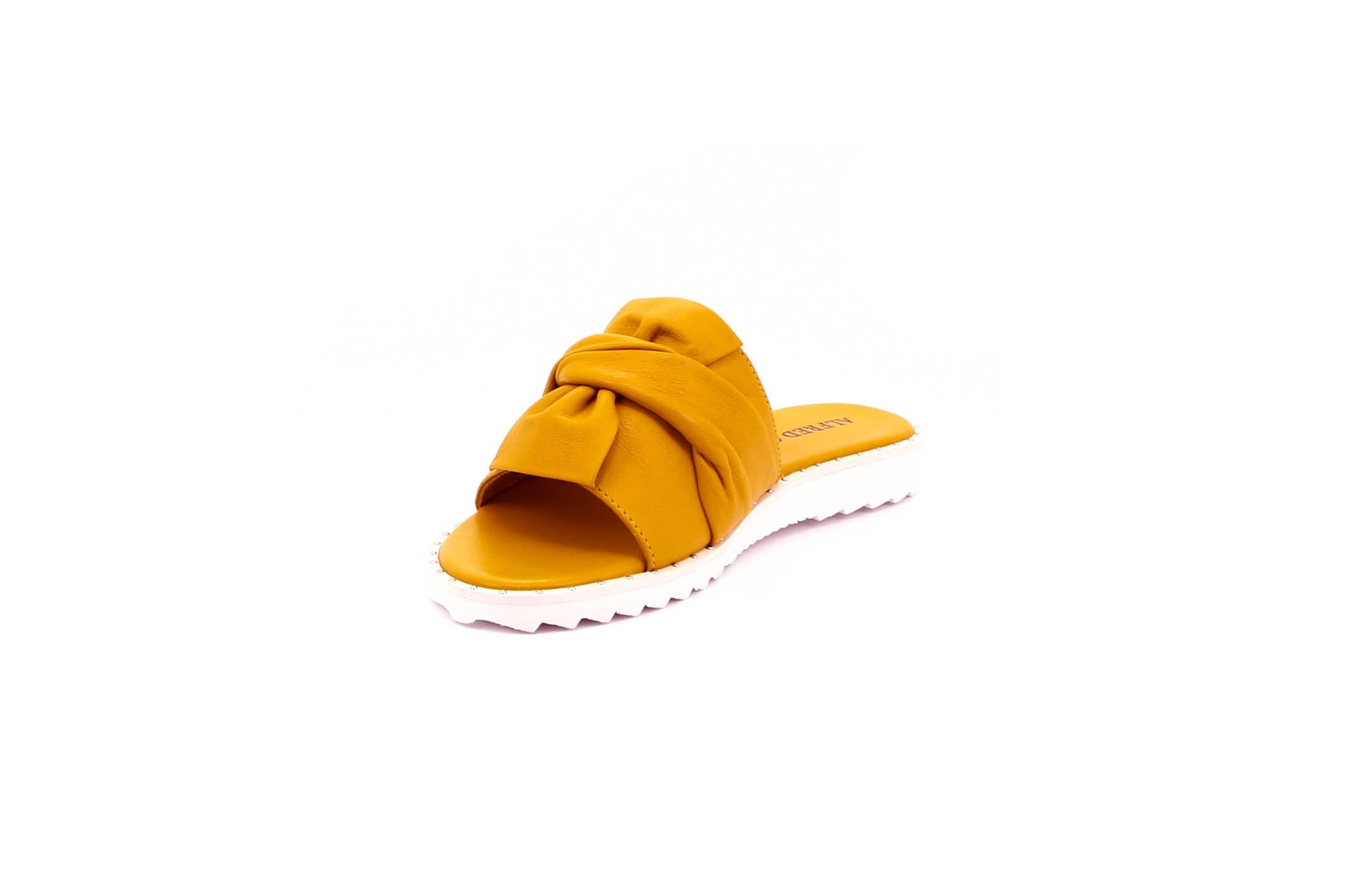 ALFRED C.® Olivia 6A23 Women's Sandals in Yellow Leather with EVA Soles - Alfred Cloutier Ltd. - Canada