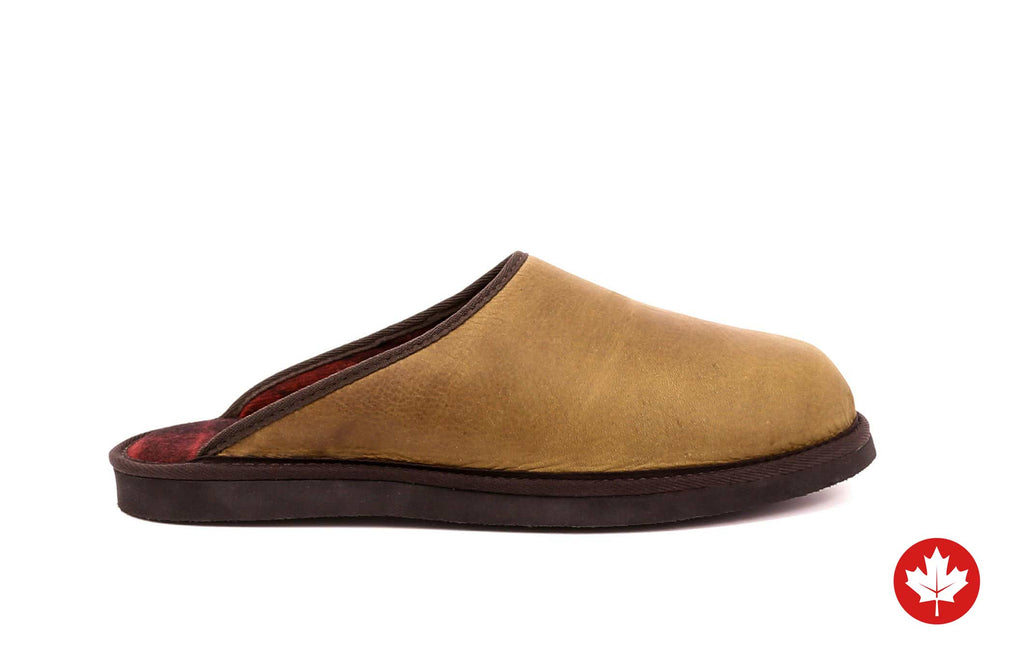 Carson Men's Mule Slippers in Genuine Leather