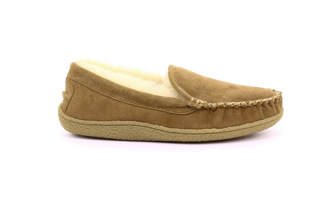 ZEROSTRESS® Champlain 1A02 Men's Shearling Moccasin Slippers with Thermoplastic Rubber Sole - Alfred Cloutier Ltd. - Canada