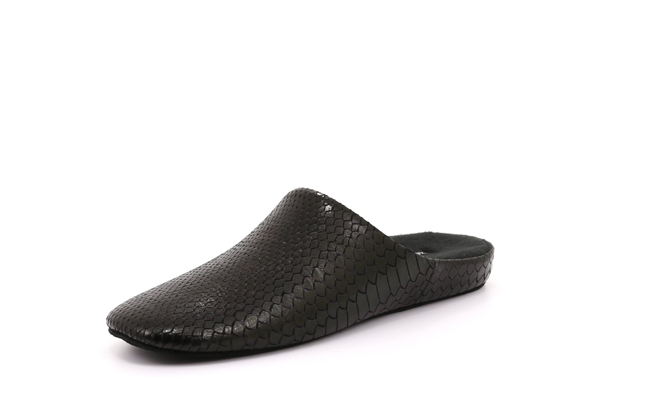 Jasper Men's Slippers in Snake Print Microsuede with Suede Sole - Alfred Cloutier Ltd. - Canada