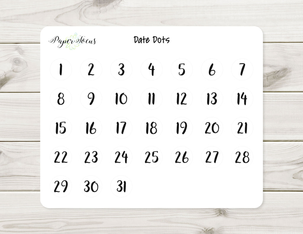 Date Dots - Planner Stickers - Paper Focus Co.