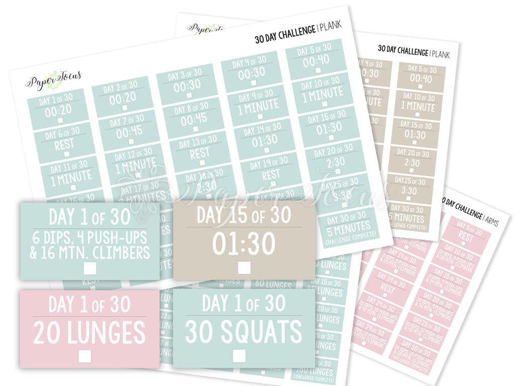 30-Day Fitness Challenge Stickers - Bundle