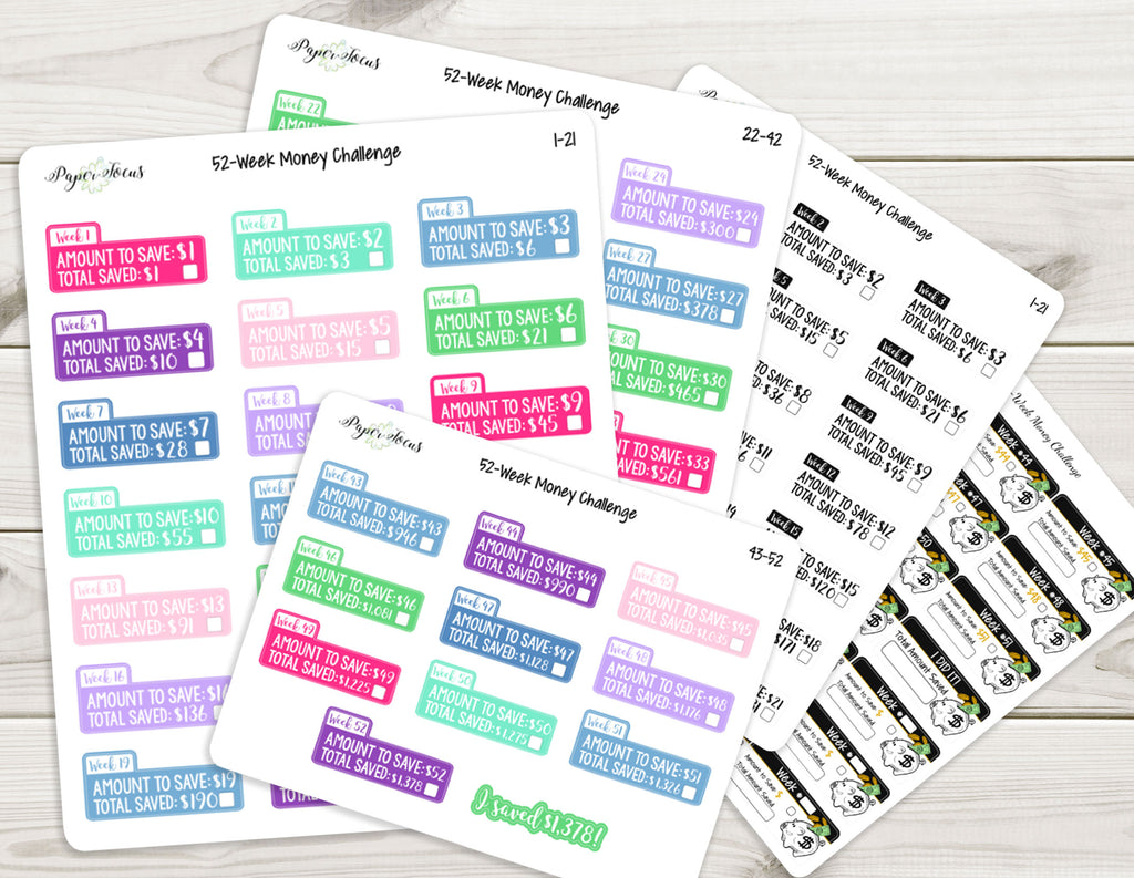 52-Week Money Challenge - Planner Stickers
