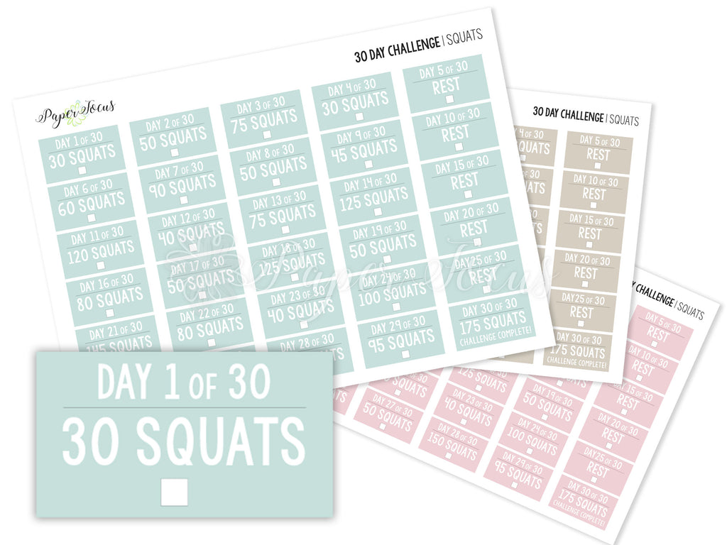 30-Day Fitness Challenge Stickers - Squats