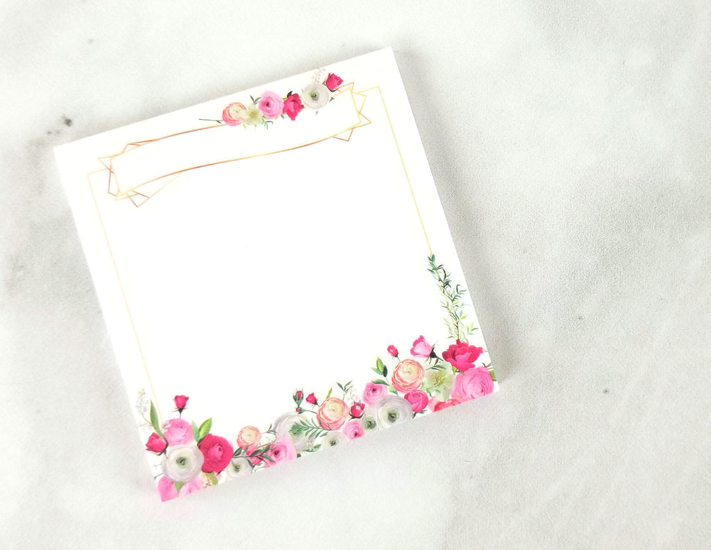 Floral and Gold Sticky Notes - Paper Focus Co.
