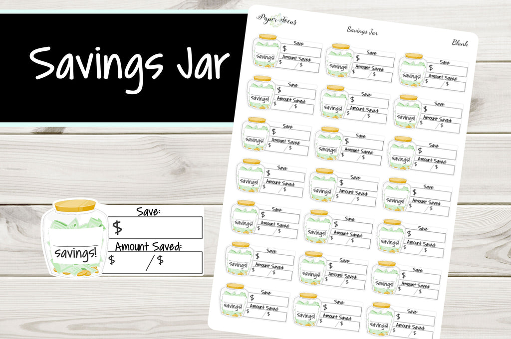 Blank Savings Jar - Planner Stickers - Paper Focus Co.
