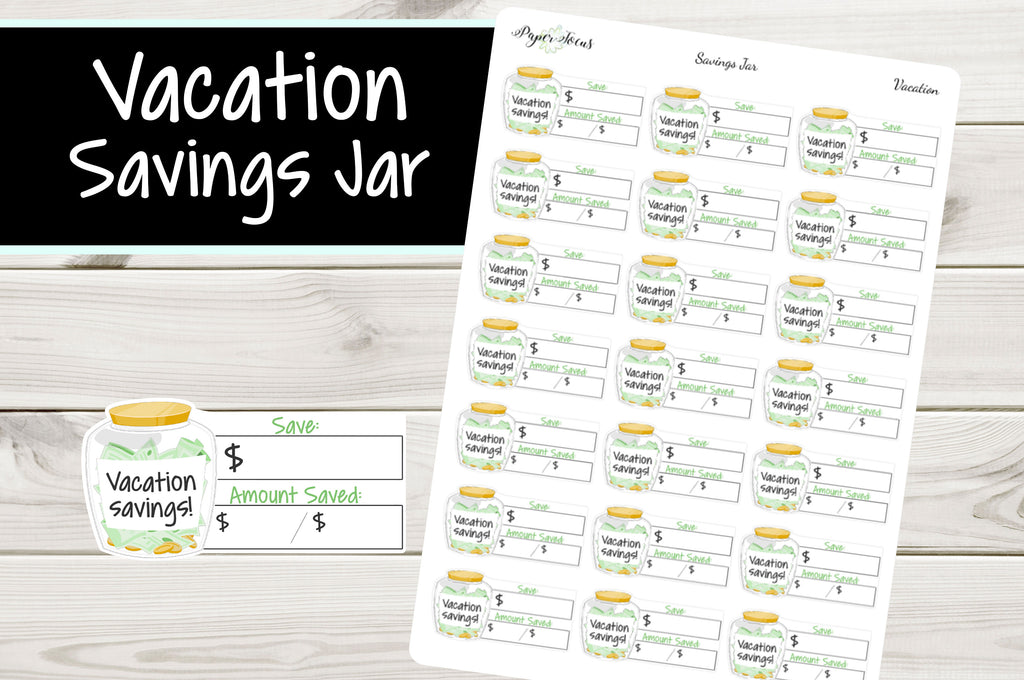 Vacation Savings Jar - Planner Stickers - Paper Focus Co.