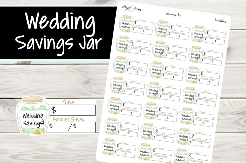 Wedding Savings Jar - Planner Stickers - Paper Focus Co.