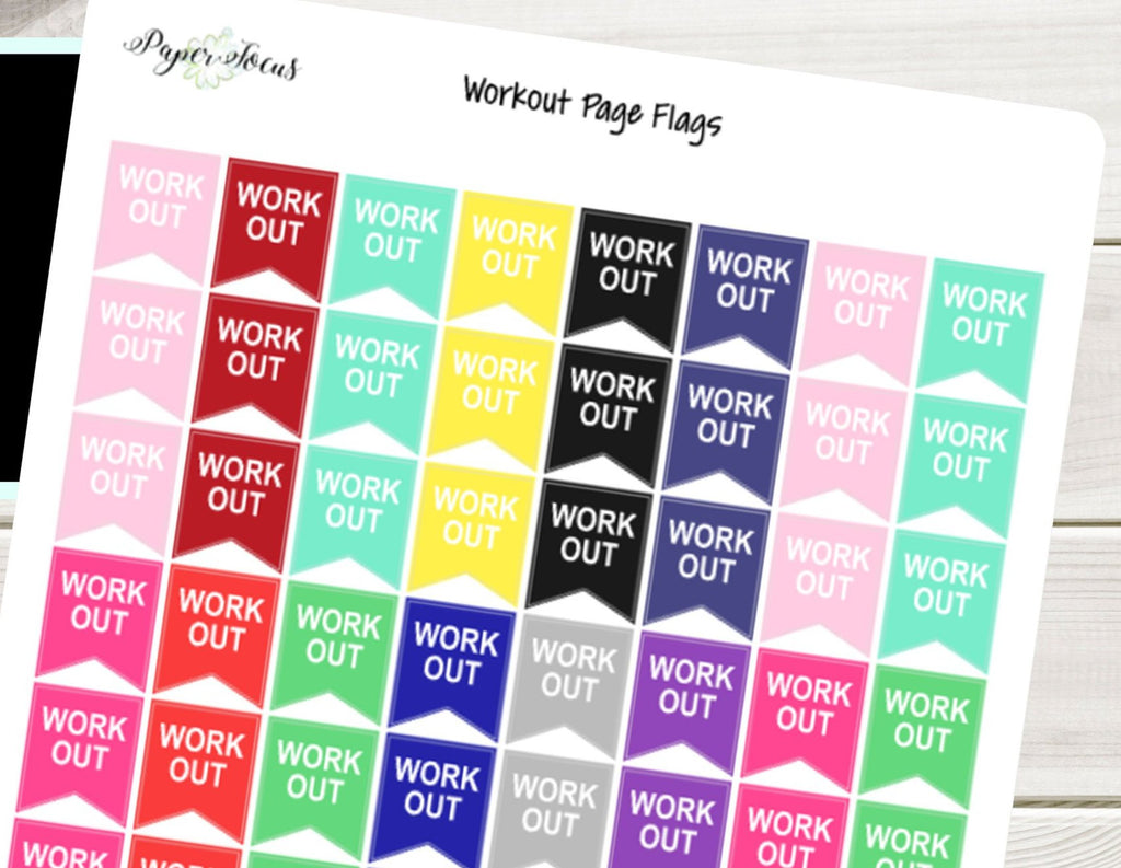 Workout Page Flags - Planner Stickers - Paper Focus Co.
