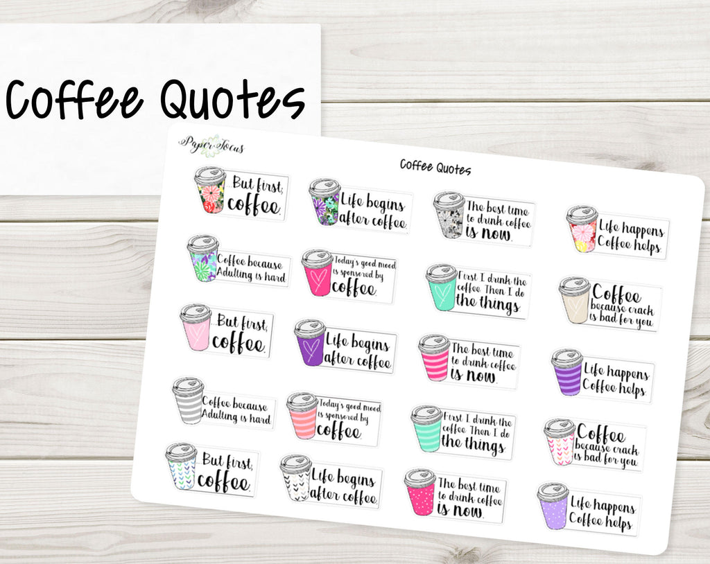 Coffee Cups with Quotes - Planner Stickers - Paper Focus Co.