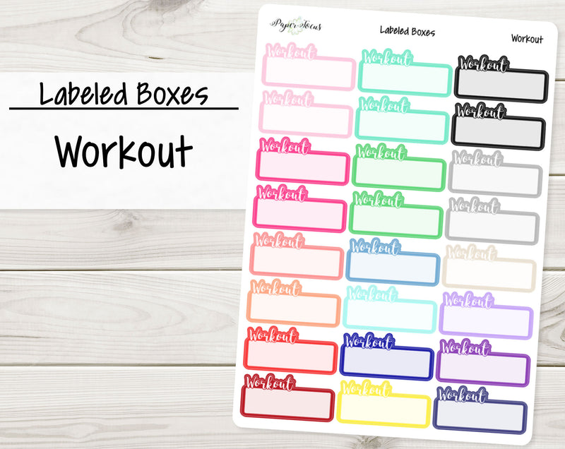 Workout Labeled Boxes - Planner Stickers - Paper Focus Co.